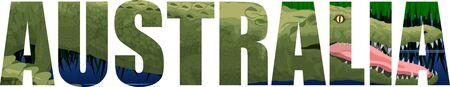 vector Australia word with saltwater crocodile
