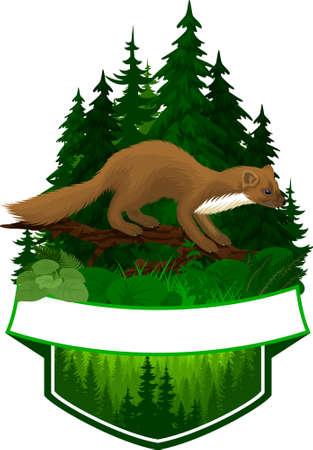 vector woodland emblem with pine marten