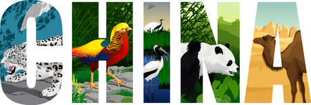 vector China word with snow leopard, Golden pheasant, Red-crowned crane, camel, giant panda and great wall Ilustrace