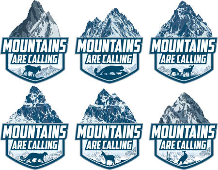 The Mountains Are Calling. vector Outdoor Adventure Inspiring Motivation Emblem logo illustration with himalayan monal, snow leopard, Rocky Mountains goat, himalayan goats, puma cougar and chamois