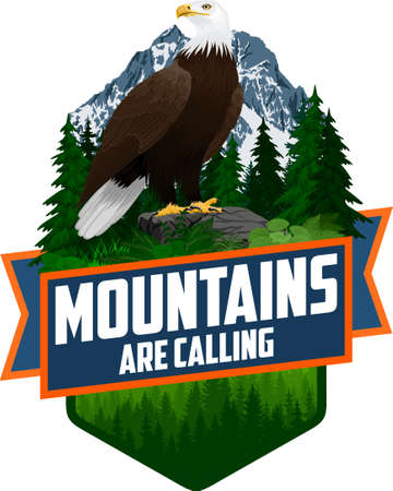 The Mountains Are Calling. vector Outdoor Adventure Inspiring Motivation Emblem logo illustration with Bald eagle Иллюстрация