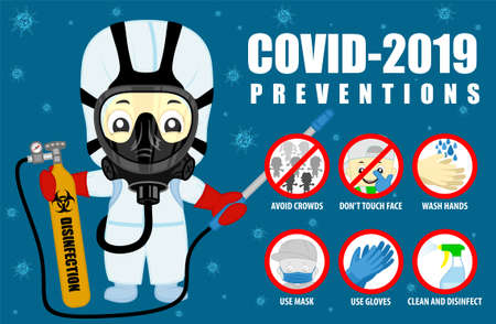 Coronavirus preventive signs. Basic protective measures against the new coronavirus. Vector guidance to stay healthy from Covid-19 and medical scientist disinfector 矢量图像