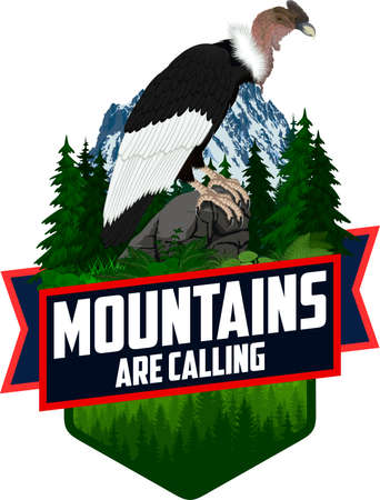 The Mountains Are Calling. vector Outdoor Adventure Inspiring Motivation Emblem Ilustrace