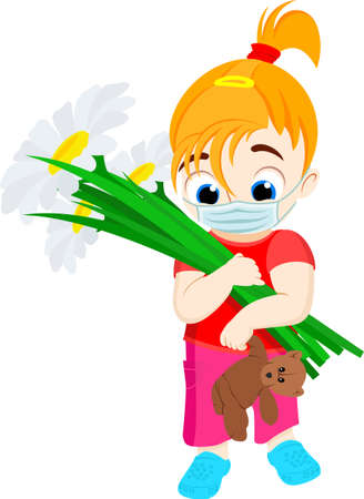 vector flat kid girl with flowers and mask Ilustrace