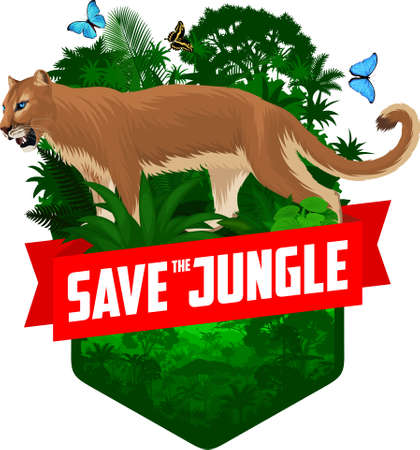 vector jungle rainforest emblem with Puma. Cougar, mountain lion and blue morpho butterfly