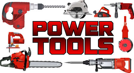vector set of red power tools 矢量图像