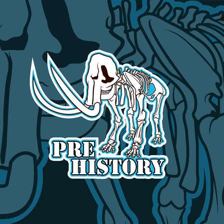 Vector prehistoric skeleton of mammoth emblem illustration 矢量图像
