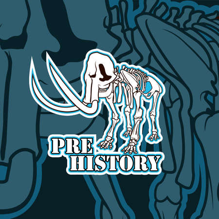 Vector prehistoric skeleton of mammoth emblem illustration Ilustrace