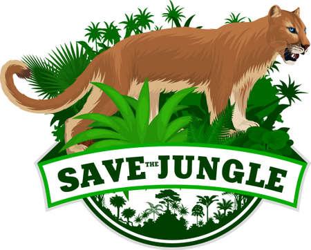 vector jungle rainforest emblem with Puma. Cougar, mountain lion Illusztráció