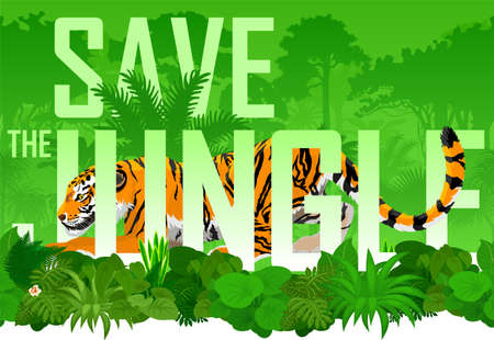 Vector seamless horizontal tropical rainforest Jungle background with tiger