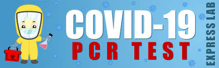 Coronavirus Testing banner. Covid-19 RT-PCR test illustration