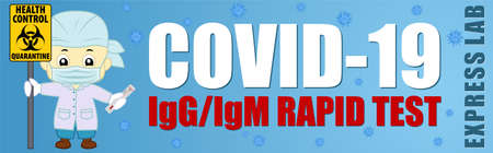 Coronavirus Testing banner. Covid-19 Rapid IgM-IgG test illustration