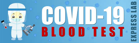 Coronavirus Testing banner. Covid-19 blood test illustration  イラスト・ベクター素材