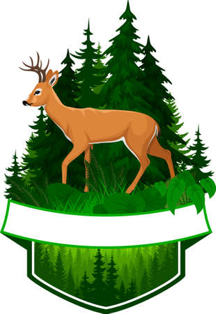 vector woodland emblem with white tiled deer