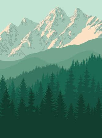 vector mountain in woodland on Rocky mountains Vecteurs