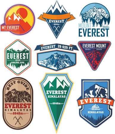 set of Vector Everest mountain logo. Emblem with highest peack in world. Mountaineering label illustration