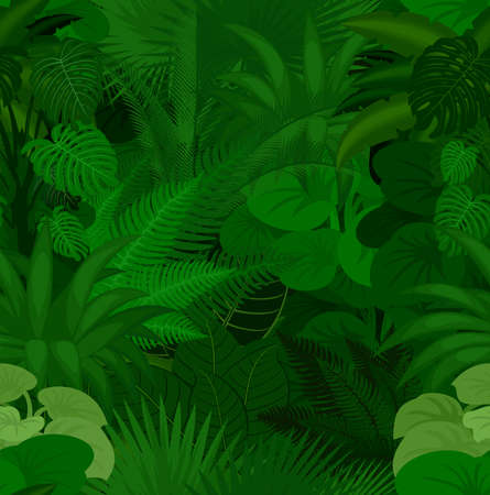 Seamless vector tropical rainforest Jungle background