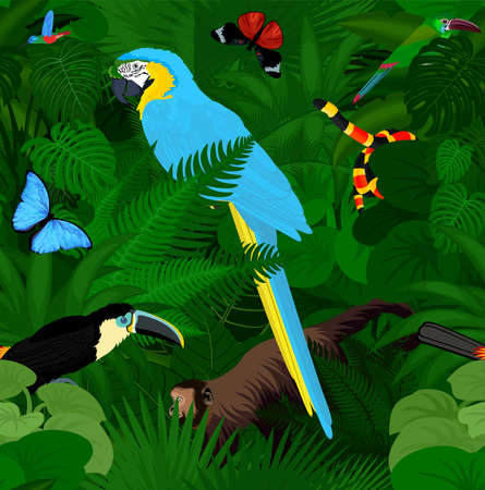 Seamless vector tropical rainforest Jungle background with animals 向量圖像