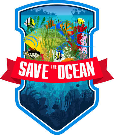 Vector emblem with queen triggerfish, coral reef and colorful tropical fishes Ilustração