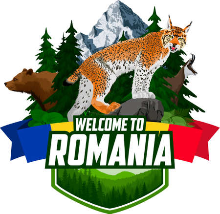 Vector Romania mountains forest emblem with lynx, bear and chamois
