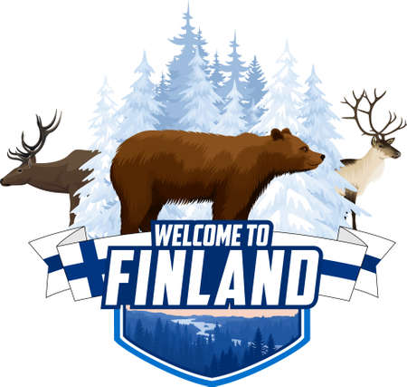 Vector Finland winter forest emblem with bear, reindeer and elk
