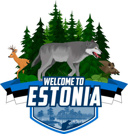 Vector Estonia woodland forest emblem with wolf, boar and roe deer Vector Illustration