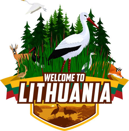 Vector Lithuania wetland forest emblem with storks, deer, fox, bittern and heron