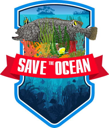 Vector emblem with Giant grouper, coral reef and colorful tropical fishes