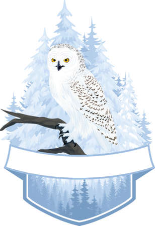 vector woodland emblem with arctic snowy owl