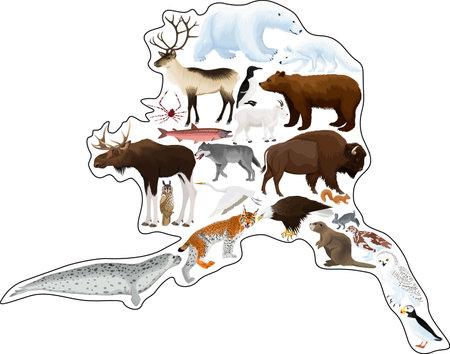vector map with animals of Alaska: polar bear, bald eagle, moose, lynx, beaver, crab, fox, owl, seal, bison, bear, mountain goat, reindeer, wolf