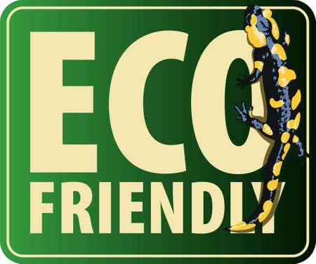 Vector Eco Sticker with European fire salamander