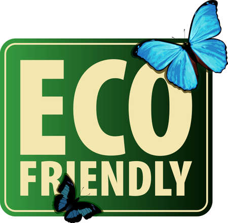 Vector Eco Sticker with blue Morpho butterfly 向量圖像