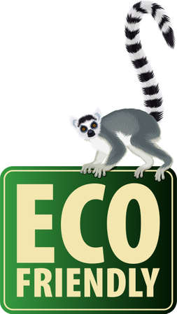 Vector Eco Sticker with ring-tailed Madagascar lemur