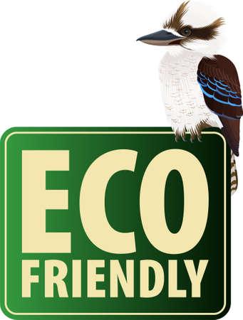 Vector Eco Sticker with ustralian Laughing kookaburra 向量圖像