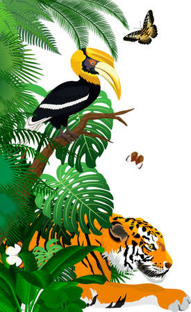 Vector jungle rainforest foliage vertical border illustration with tiger, great hornbill and butterflies