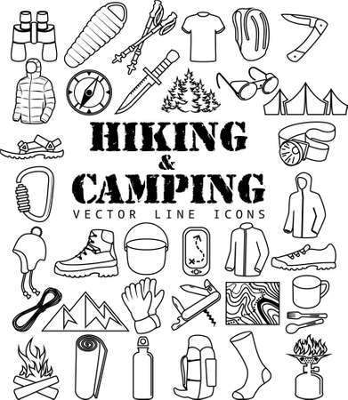 Vector set of Thin line Icons - Hiking camping travel objects