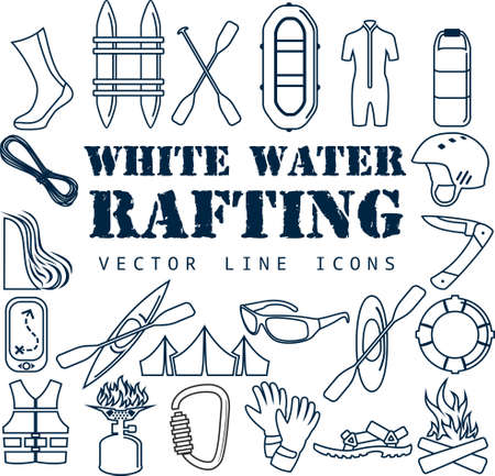 Vector set of Thin line Icons - white water rafting travel objects