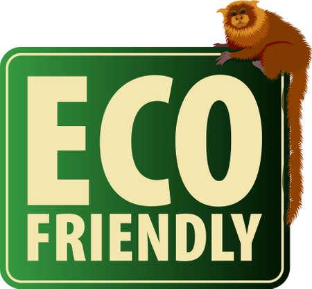 Vector Eco Sticker with Golden lion tamarin