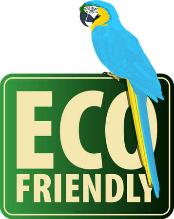 Vector Eco Sticker with parrot blue-and-yellow macaw ara