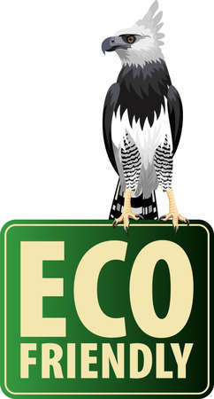 Vector Eco Sticker with harpy eagle 向量圖像