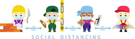 social distance. Space for safety and people should be 2 meter apart. Coid-19 Social distancing vector