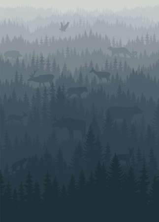 vector mountains forest background texture seamless pattern with animals: eagle, puma, bear, lynx, moose, wolf, deer, boar.