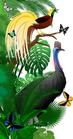 Vector jungle rainforest foliage vertical border illustration with cassowary, Lesser Bird of Paradise and birdwing butterflies