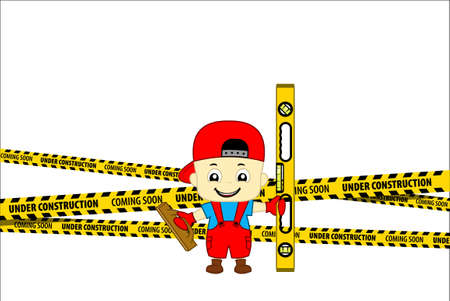 Under Construction Concept with kid plasterer worker with plastering trowel and spirit level. Flat design vector illustration