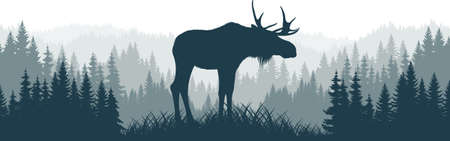 vector mountains forest woodland background texture seamless pattern with moose bull 向量圖像