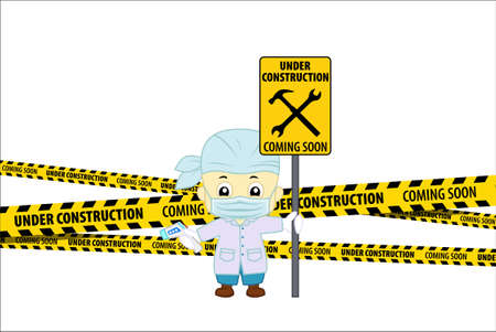Under Construction Concept with doctor with non-contact thermometr. Flat design vector illustration