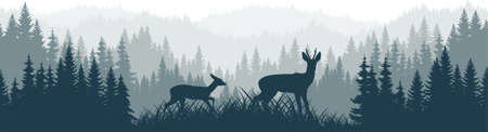 vector mountains forest woodland background texture seamless pattern with Roe deers