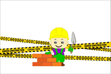 Under Construction Concept with cute bricklayer masonry worker with helmet and trowel putty knife. flat design vector illustration