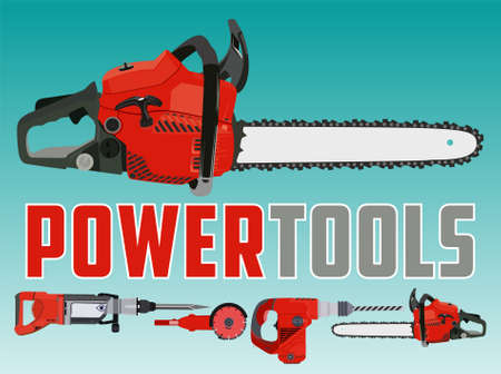 Vector illustration with chain saw and Different Power Tools 向量圖像