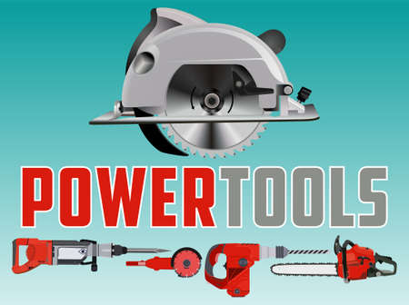 Vector illustration with circle saw and Different Power Tools  イラスト・ベクター素材